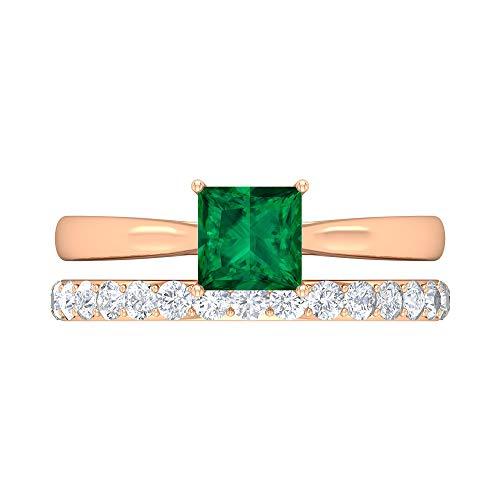 Rosec Jewels 18 quilates oro rosa talla princesa Round Brilliant Green Moissanite Turmalina Verde