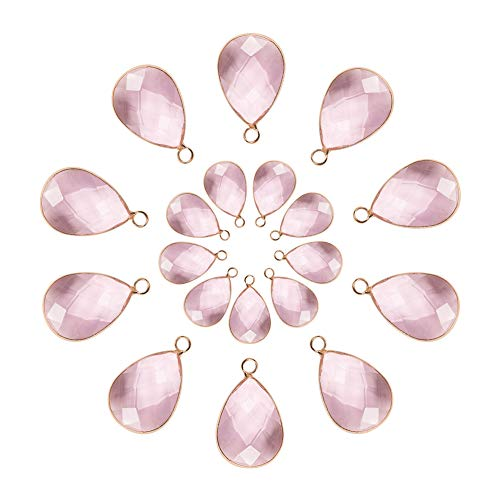 PH PandaHall 20pcs 2 Sizes Faceted Teardrops Crystal Pearl Pink Glass Pendants Charms Drop Glass Dangle for Necklace Jewelry Making