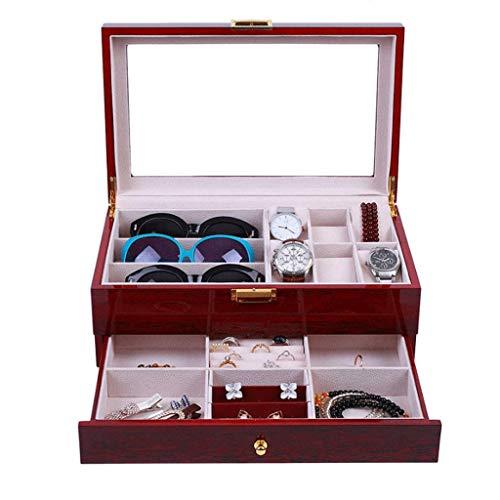 SCDHZP Ver Joyero Ver Gafas de Sol Ver Organizador de vitrinas Double-La Glas Top Caja de Almacenamiento de Joyas