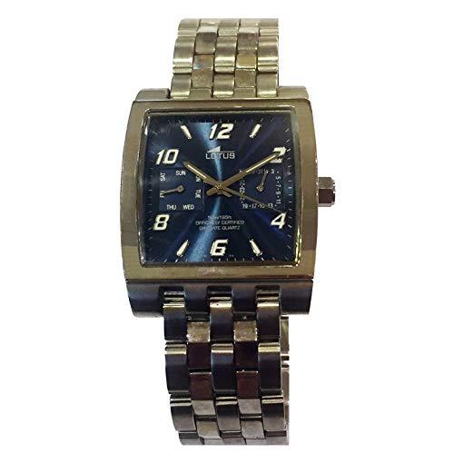 Lotus 15181/3 Reloj Cuadrado con Doble Calendario con Agujas y WR 50 Metros