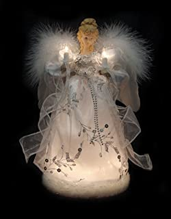 Vickerman Ice Palace Lighted White and Silver Angel Christmas Tree Topper with Clear Lights, 12