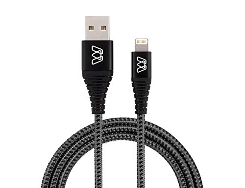 MOS Strike Lightning Cable, 6Ft, Ultra Durable Braided Nylon Fiber Jacket, Tangle Resistant, Mfi Certified