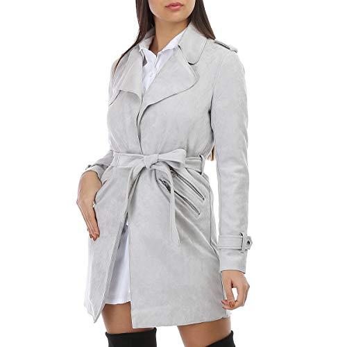 La Modeuse – Chaqueta larga de piel sintética de ante con cinturón para atar gris L