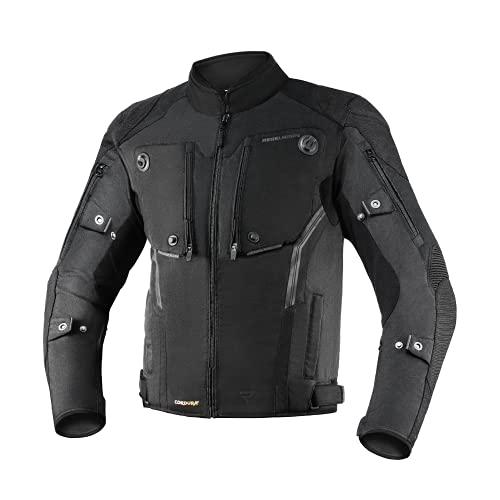 REBELHORN Borg Chaqueta de Moto Urbana Cordura Humax Membrana Protectores de hombros y codos Deslizadores 10 Canales de ventilación Elementos reflectantes Bolsillo móvil de neopreno
