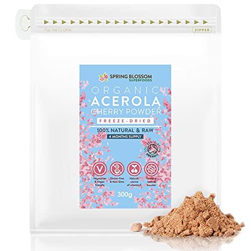 300g Organic Acerola Cherry Powder Freeze-Dried 100% Natural Vitamin C Raw Extract Food Supplement Immune System Booster Vegan Gluten-Free Superfood Ascorbic Acid Alternative No Additives Non-GMO
