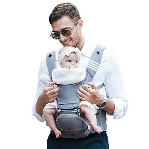 Bebamour - Mochila, portabebés, sillita de cadera para bebé. 6 en 1. De 0 a 36 meses. 3 baberos. Portabebés plegable (gris noble)