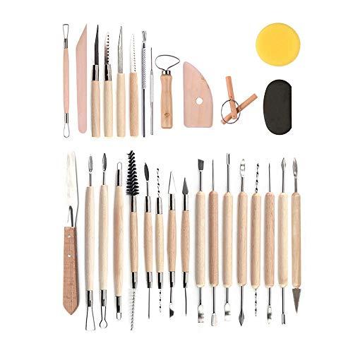 MOPOIN Clay Werkzeug, 30 Stück Töpferwerkzeug Modellierwerkzeug aus Holz Ton Töpferei Werkzeuge Schnitzwerkzeug für Steinmalerei, Töpferei, Modellierung, Prägung, Nagelkunst, DIY