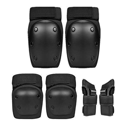 AOCKS 6 in 1 Professional Protective Equipment for Children & Adolescents - Adjustable Knee Pads for Multi Sports Skating Rollerblade Cycling Extreme Sports