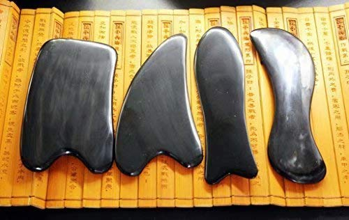 Acupress Genuine Natural Black Buffalo Horn GuaSha Scraping Massage Tools Set of 4 for SPA...