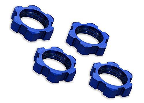 Traxxas 7758 Radmuttern, gezahnt, 17 mm, Wellenschliff (blau-eloxiert) (4)