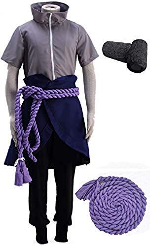 OIUC Naruto Uchiha Sasuke - Disfraz de cosplay para hombre, 5 piezas, incluye pulseras de cuerda, para hombre, talla XXL