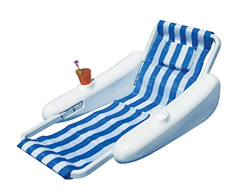 """68.5"""" Sunchaser Blue and White Striped Swimming Pool Adjustable Back Floating Lounge Chair -  Swim Central, 31435624"""