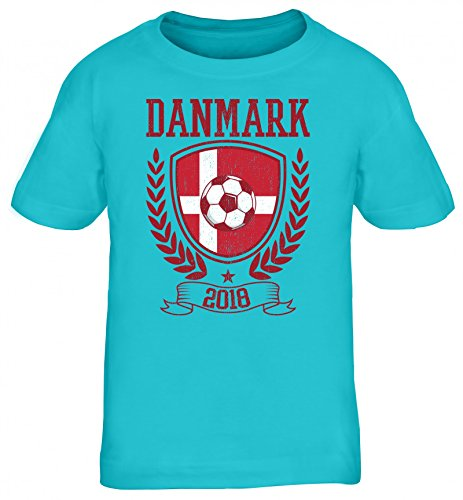 Dänemark Denmark Fußball WM Fanfest Gruppen Kinder T-Shirt Rundhals Mädchen Jungen Pokal Danmark 2018, Größe: 110/116,türkis