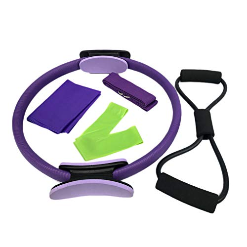 Nrpfell Pilates Ring mit Widerstandsgurt/Zuggurt Starker Fitness Training Kreis für Ganz K?Rper Toning, Yoga und Kraft Training