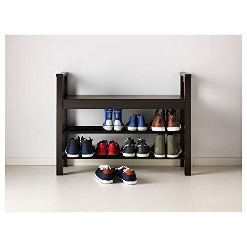 IKEA HEMNES - Banco con zapatero (85 x 32 x 65 cm), color negro y marrón
