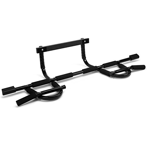 Yes4All Deluxe Chin Up Bar (Black XSP Bar - 33 to 37' New), Large Over The Door for Home Gym, Enhance Upper Body Strength – Pull Up Bar On The Door – Support To 300Lbs