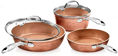 Gotham Steel Premium Hammered Cookware 5 Piece Ceramic Cookware Pots and Pan Set with Triple product image