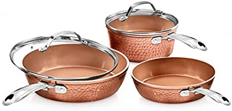 Gotham Steel Premium Hammered Cookware – 5 Piece Ceramic Cookware, Pots and Pan Set with Triple Coated Nonstick Copper Surface & Aluminum Composition for Even Heating, Oven, Stovetop & Dishwasher Safe