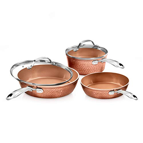 Gotham Steel Premium Hammered Cookware – 5 Piece Ceramic Cookware Pots and Pan Set with Triple Coated Nonstick Copper Surface amp Aluminum Composition for Even Heating Oven Stovetop amp Dishwasher Safe