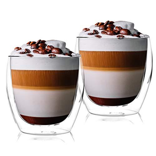 Latte macchiato gläser set 2 x 250 ml | Thermogläser Doppelwandig | Kaffeeglas, Trinkgläser, Teegläser, Cappuccino Gläser aus Borosilikatglas (2 x 250 ml)