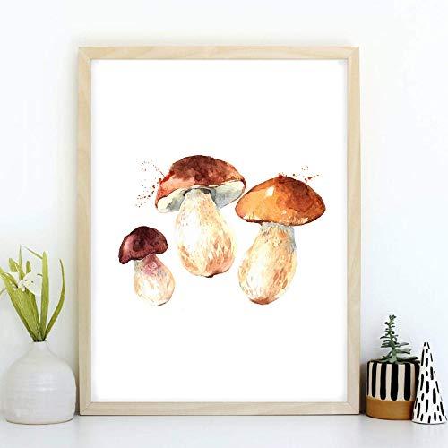 Din A4 Kunstdruck ungerahmt - Pilz Steinpilz Küche Esszimmer Aquarell Druck Poster Bild