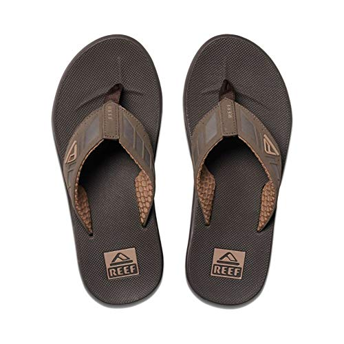 Reef Men's Sandals Phantom Leather | Athletic Flip Flops for Men with Contoured Footbed | Waterproof | Brown | Size 13