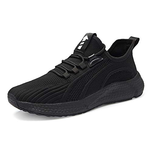 Kosdeal Men's Road Running Shoes Walking Sneakers Fashion Athletic Sports Tennis Shoes Breathable Mesh All Black 46