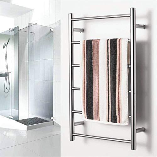 Toallero Eléctrico Bajo Consumo Calentador de toalla montado en la pared, estante de toalla de baño de acero inoxidable Toalla de toalla de estante con 6 barras con calefacción para baño 800x500x120mm