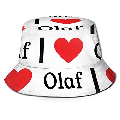 gii6LMLMLFGHLBB I Love Olaf Eimer Hut Unisex Sun Hat Printed Fisherman Packable Travel Hat Fashion Outdoor Hat Sommer