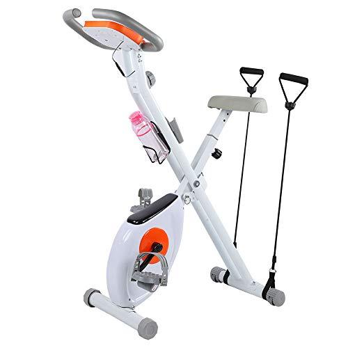 Alvinlite Bicicleta estática Plegable Ultra silenciosa, Bicicleta Vertical con frecuencia cardíaca, Monitor LED y fácil de Montar