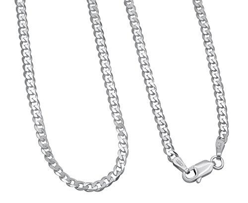 Panzerkette 925 Sterling Silber rhodiniert 3mm breit Länge wählbar 45 50 55 60 cm Silberkette anlaufgeschützt Halskette Kette Damen Herren (55)