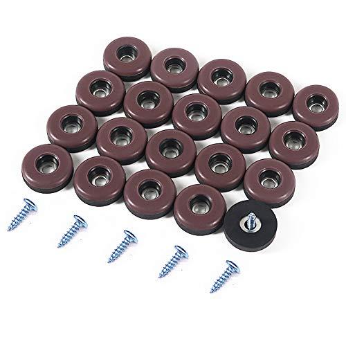 Shintop Furniture Glides, 20 Stück Möbelgleiter Teflon zum Schrauben PTFE Gleiter für Möbel Easy Mover(Braun)
