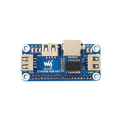 xingxing Ethernet/USB HUB HAT para RPi 4/Zero W USB a Ethernet 1x RJ45 puerto Ethernet 3x puertos USB partes electrónicas