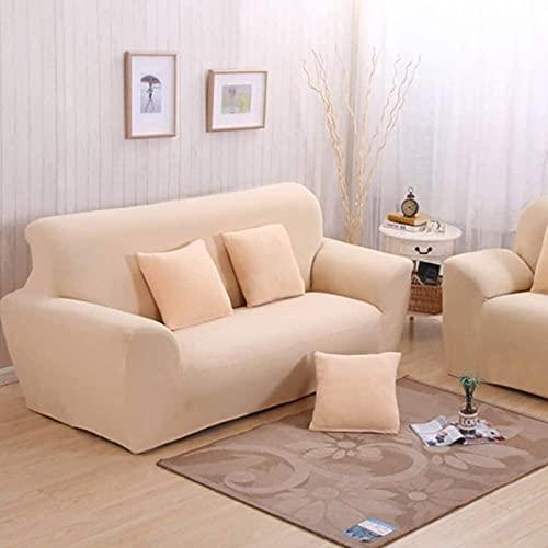 HZYDD Color sólido Fundas de sofá, Tela Elástica Sofá funda 1 2 3 4 plazas Sofá protector Sillón Antideslizante Protector de Muebles Protector de Color Crema 1 Plaza 90-140cm