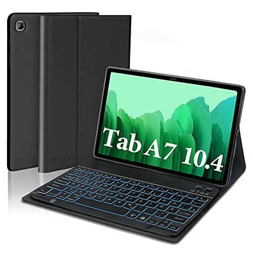 SENGBIRCH Tastatur Hülle für Samsung Galaxy Tab A7 10.4 2020, Hülle mit Tastatur (Beleuchtet Abnehmbar Deutsch Layout) nur für Galaxy Tab A7 10.4 Zoll (T505/T500/T507) - Schwarz
