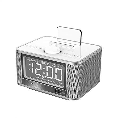 LZJZ Altavoz Bluetooth Radio Despertador LED Super Bass Dormitorio de Escritorio Dormitorio en casa Reloj Despertador Doble,White