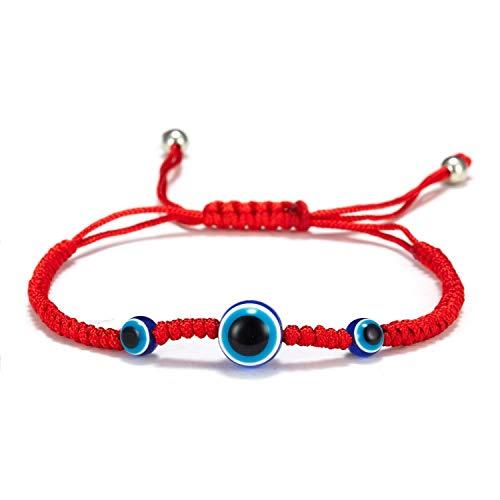 CHIY-GBC Pulsera de Cadena roja de la Suerte Trenzada a Mano, Pulsera de Cuentas Redondas de Ojo Malvado Azul para Hombres y Mujeres, joyería de Moda de la Amistad