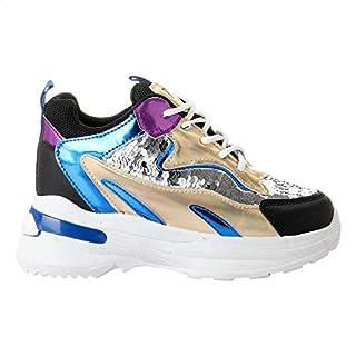 أحذية Grinta Color-Block جلدية معدنية بتفاصيل الترتر بمقدمة دائرية عالية برباط للنساء