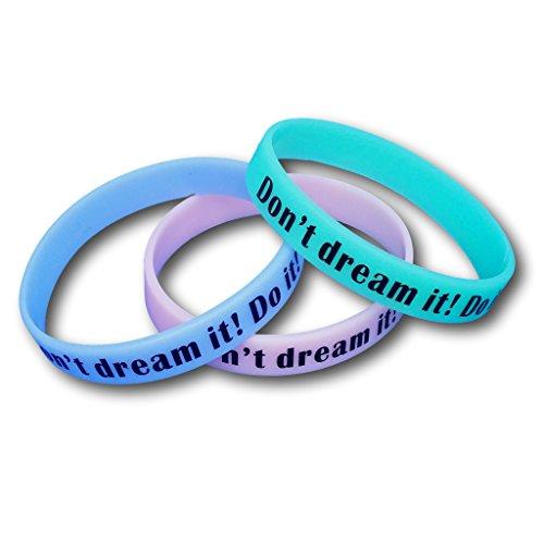 Juego de 3pulseras de fitness con frases a elegir–Pulseras de silicona en azul, verde, rosa– Pulseras de EKNA que brillan en la oscuridad., Don't dream it! Do it!