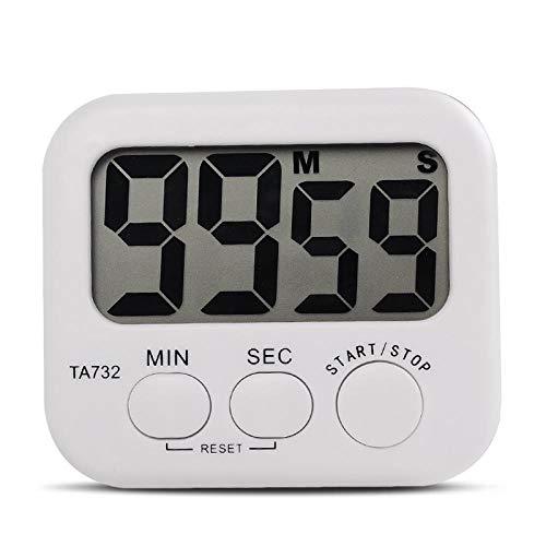 Timers de cuisine Affichage numérique Blanc Mini électronique Grand écran LCD Cuisine minuterie numérique Horloge Compte à rebours Nombre de temps d'alarme fort Accueil Outils Accessoires Four de cuis