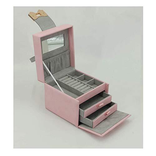 ZHANG Mini caja de almacenamiento creativa y conveniente de la joyería del cuero de la PU, caja de almacenamiento de la joyería del tipo del cajón de tres