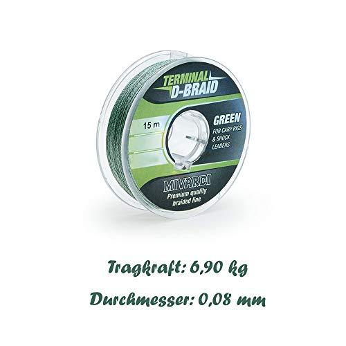 Mivardi 15 m Karpfen Vorfach Schnur geflochten 0,12-0,26 mm (grün, 0,08 mm)