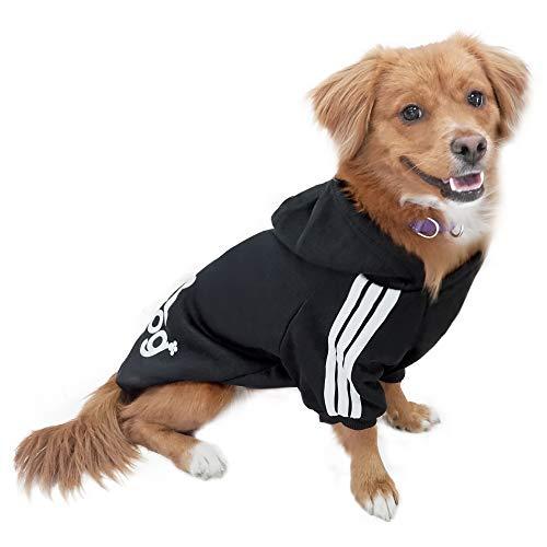 Eastlion Hund Pullover Welpen-T-Shirt Warm Pullover Mantel Pet Kleidung Bekleidung, Schwarz, Gr. L