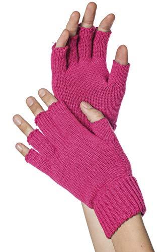 Strick-Handschuhe, fingerlos, Neon-Pink