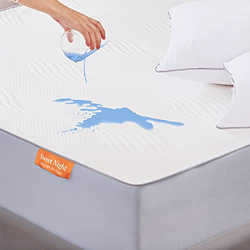 Sweetnight King Size Mattress Protector- 100% Waterproof Mattress Protector King Bed, Quilted Bamboo Mattress Protector Fitted Extra Deep 40 cm Breathable Anti Allergy Mattress Cover 150 x 200 cm