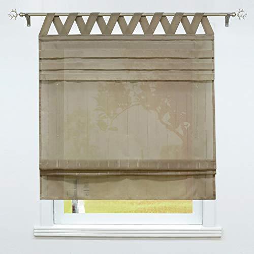 SCHOAL Raffrollo mit Schlaufen Gardinen Küche Raffgardinen Landhaus Schlaufenrollo Vorhänge Leinen Halbtransparent 1 Stück BxH 80x140cm Grau-Braun