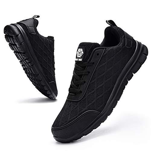 Ziboyue Zapatillas de Seguridad para Hombre Mujer Ligero Transpirable Calzado de Trabajo con Punta de Acero Anti-Pinchazo Zapatos de Seguridad (Negro Puro,44 EU)