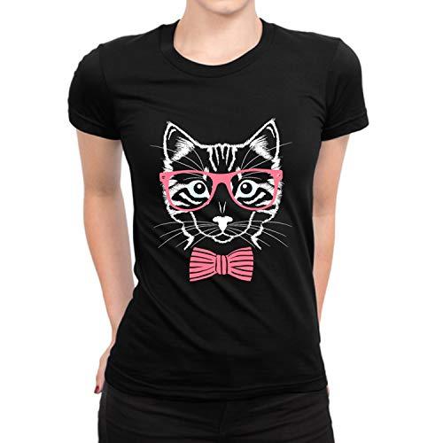 Funny Cat Pink Glasses Vintage Tee Shirt - Adult Black Short Sleeves Casual Shirt (XXL)