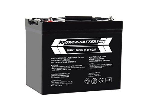 12V 60Ah RPower AGM batterij/loodacccu USV accu noodstroom noodlicht loodacccu
