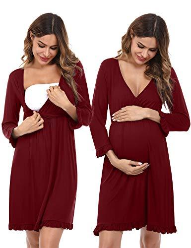 Doaraha Camisón Lactancia para Mujer Vestido Premamá con Volantes Pijama de Maternidad Camisones de Algodón de Manga 3/4 Ropa de Dormir con Cuello en V (Rojo, L)